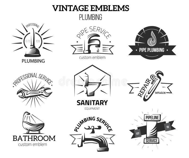 Etiquetas del negocio de la fontanería en el estilo del vintage para los logotipos Concepto casero de la reparación Grifo, elemen ilustración del vector