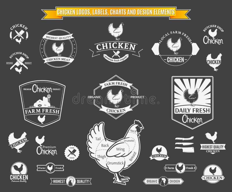 Etiquetas del pollo del vector, cartas y elementos del diseño stock de ilustración