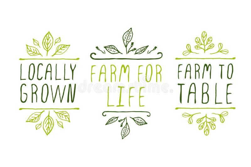 Etiquetas del producto agrícola libre illustration