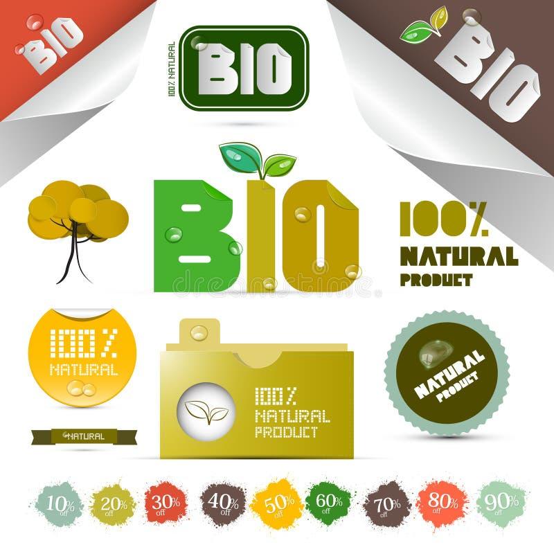Etiquetas del producto natural - etiquetas - etiquetas engomadas fijadas ilustración del vector