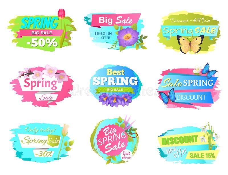 Etiquetas del promo del ejemplo del vector de Sickers de la venta de la primavera libre illustration
