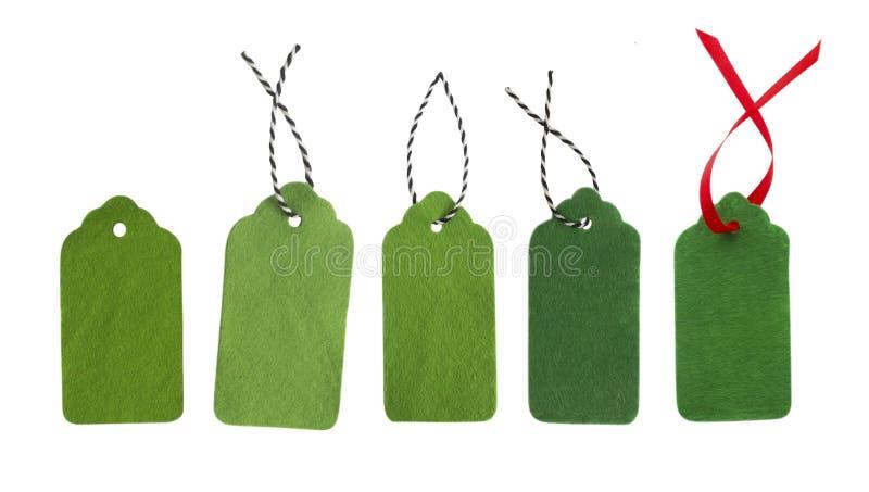 Etiquetas del regalo de colores verdes imágenes de archivo libres de regalías