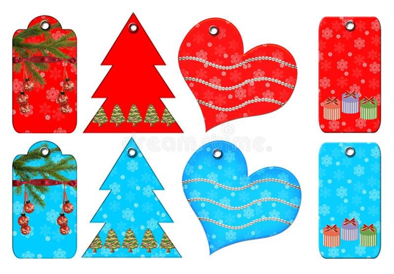 Etiquetas del regalo de diversas formas. ilustración del vector