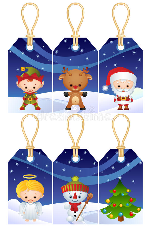 Etiquetas del regalo de la Navidad ilustración del vector