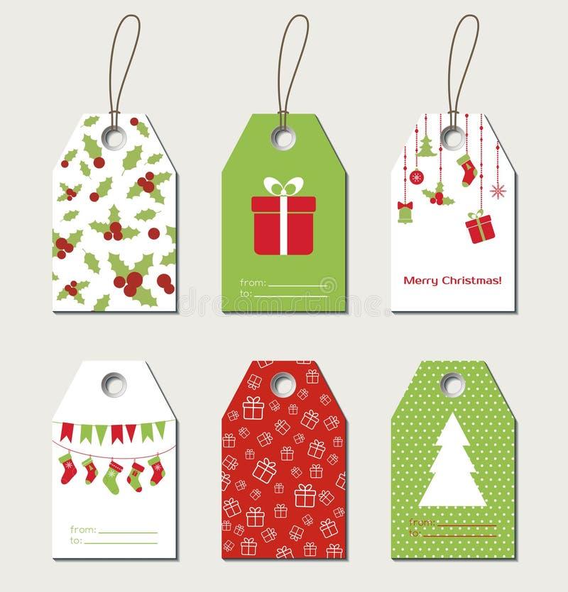 Etiquetas del regalo de la Navidad stock de ilustración