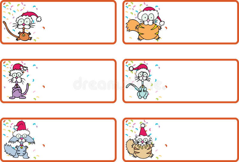 Etiquetas del regalo de la Navidad del gato del cascabeleo libre illustration