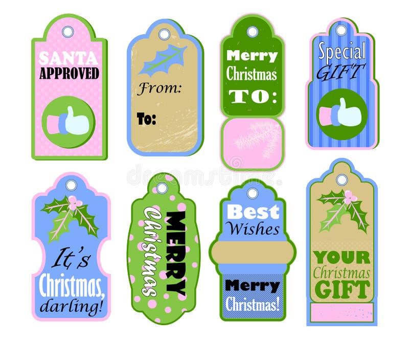Etiquetas del regalo de la Navidad fijadas en el fondo blanco Iconos del vintage del color en colores pastel para la oferta de la stock de ilustración