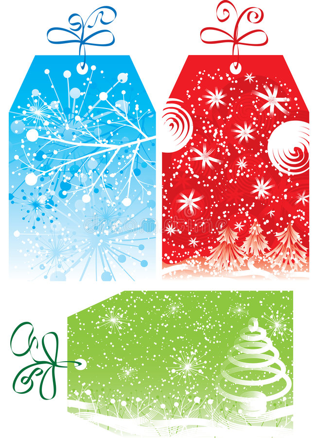Etiquetas del regalo de la Navidad, ilustración del vector ilustración del vector