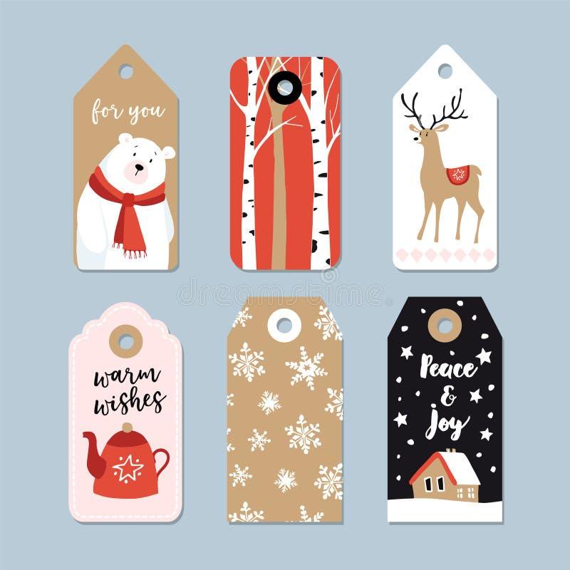 Etiquetas del regalo de la Navidad del vintage fijadas Dé las etiquetas exhaustas con los árboles de abedul, los ciervos, el oso  libre illustration