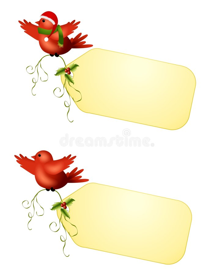 Etiquetas del regalo de los pájaros del invierno stock de ilustración