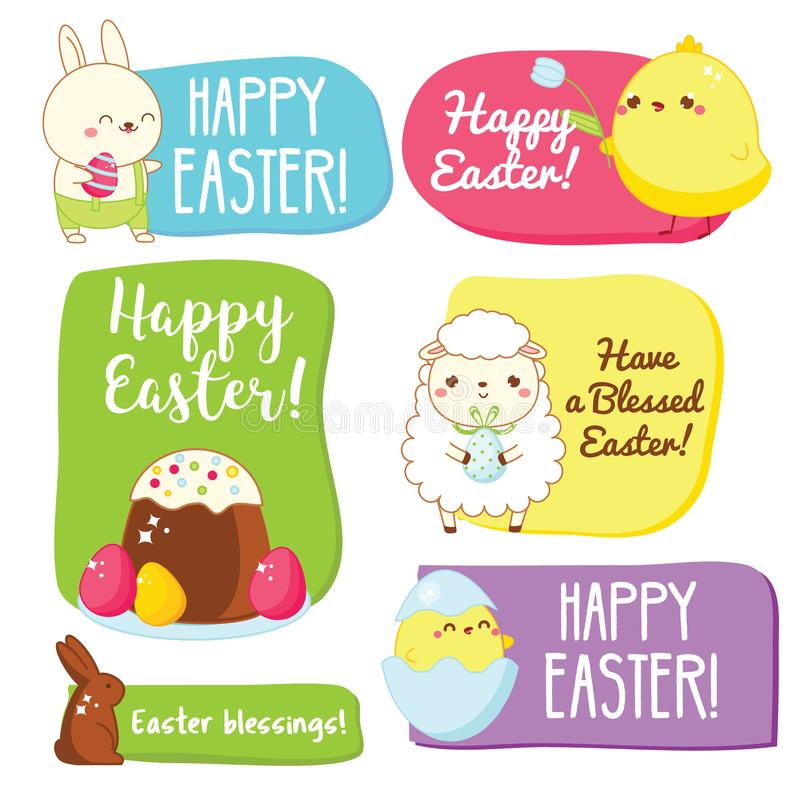 Etiquetas del regalo de Pascua con saludos estacionales tradicionales y símbolos lindos Pollos, conejos, huevos ilustración del vector