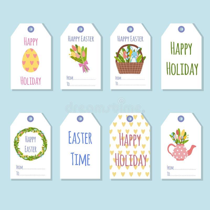 Etiquetas del regalo para el día de fiesta de Pascua Adornamiento de los regalos con los elementos de la primavera libre illustration