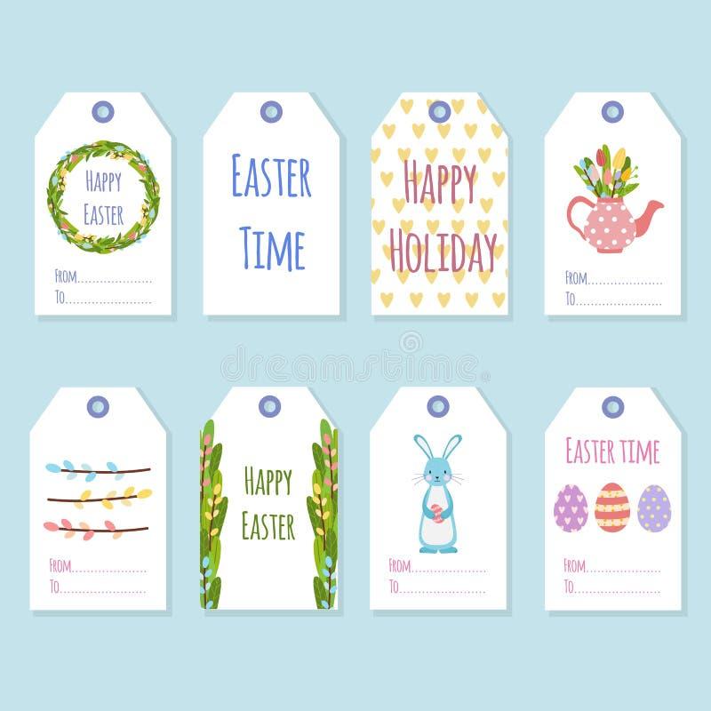 Etiquetas del regalo para el día de fiesta de Pascua Adornamiento de los regalos con los elementos de la primavera ilustración del vector