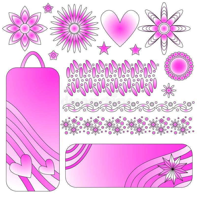 Etiquetas del rosa y blancos, ajustes, flores, corazón y estrellas libre illustration