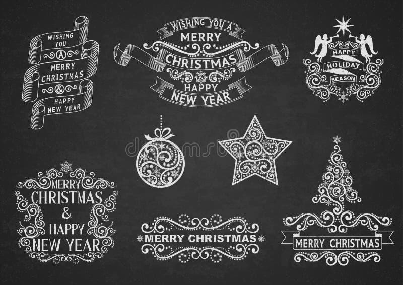 Etiquetas del saludo de la Navidad ilustración del vector