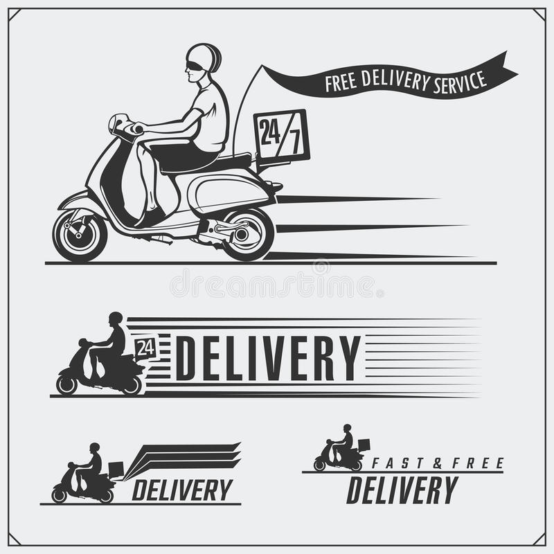 Etiquetas del servicio de entrega, emblemas, insignias y elementos del diseño 24 horas de entrega de la comida Styl del vintage libre illustration