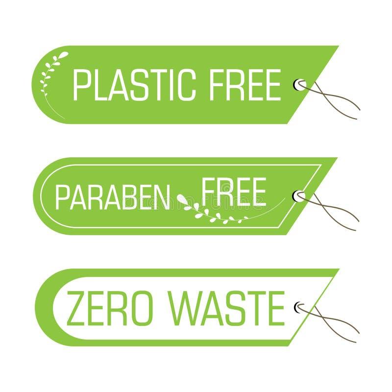 Etiquetas del vector con las etiquetas inútiles libres, cero plásticas ilustración del vector