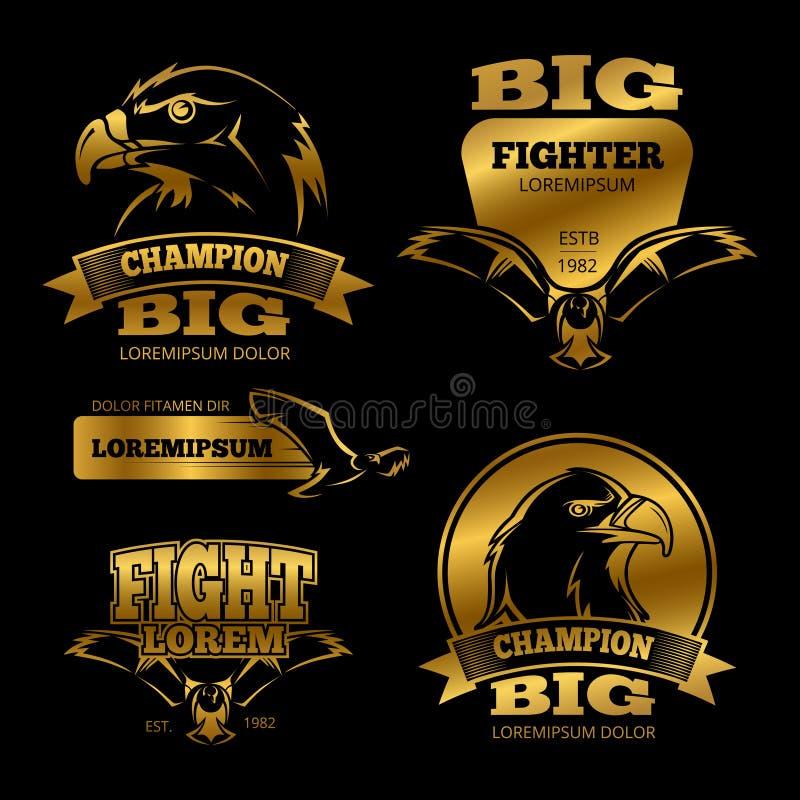 Etiquetas del vector de la heráldica del águila de oro, logotipos, emblemas ilustración del vector