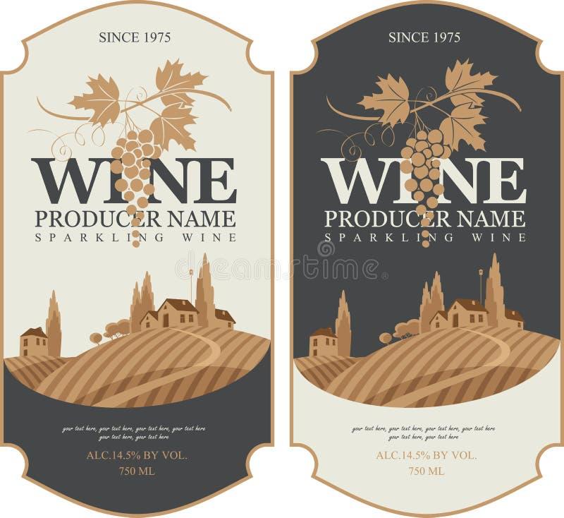 Etiquetas del vino con el paisaje de viñedos stock de ilustración