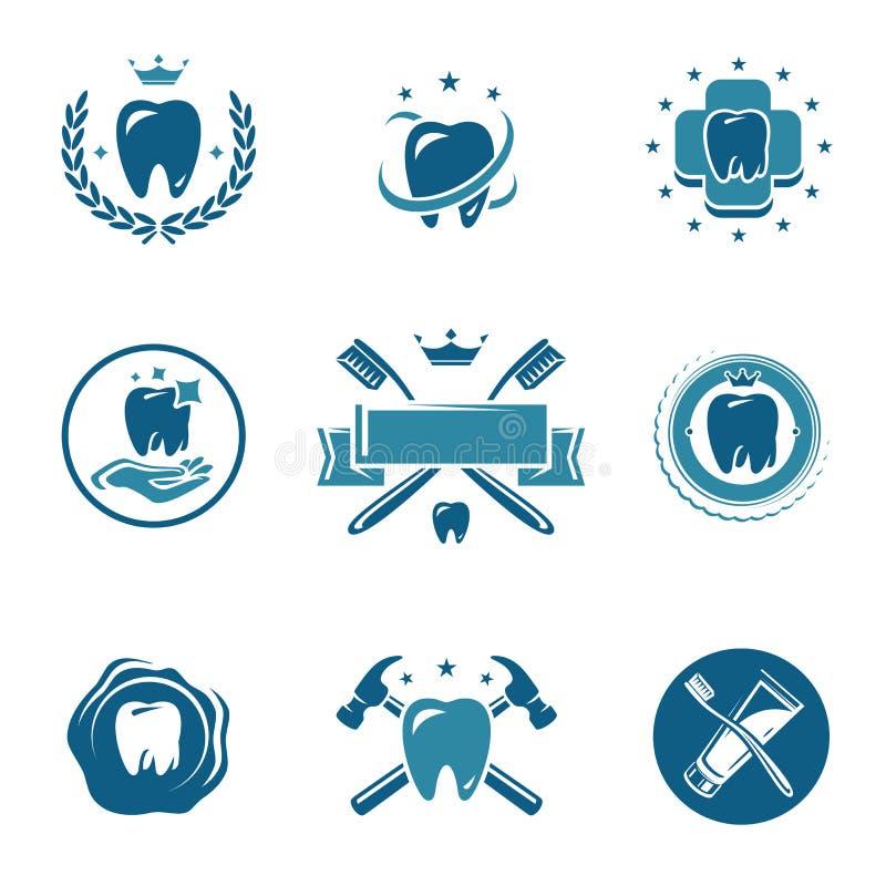 Etiquetas dentales e iconos fijados. Vector libre illustration