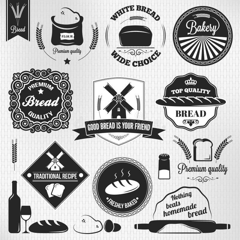 Etiquetas determinadas del vintage de la panadería del pan ilustración del vector