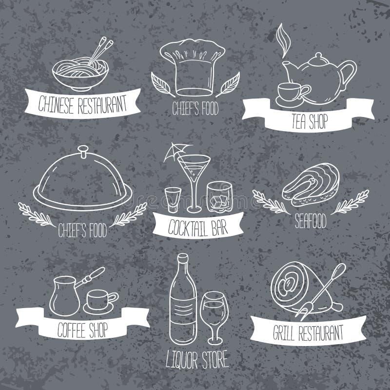 Etiquetas dibujadas mano de la comida y de las bebidas Emblemas del garabato en fondo del grunge libre illustration