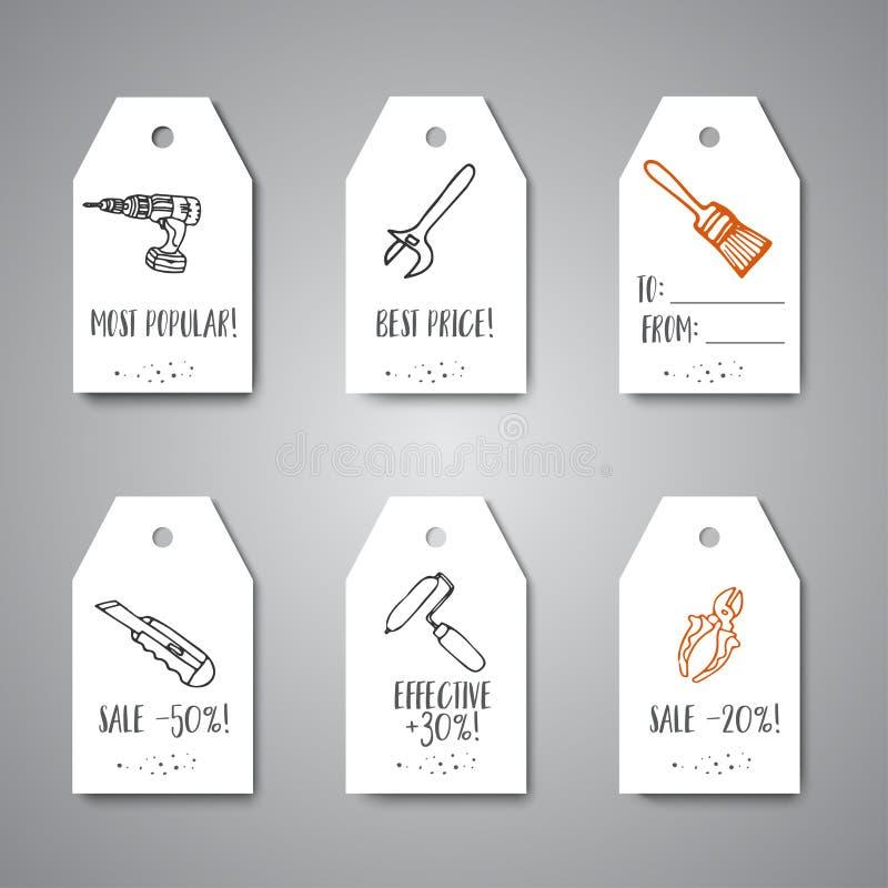 Etiquetas dibujadas mano del negocio del promo de la venta de la caída de las herramientas de la construcción de las mejoras para libre illustration