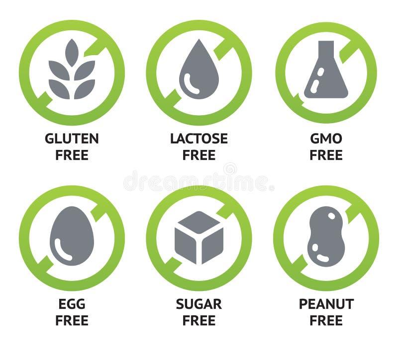 Etiquetas dietéticas do alimento ilustração do vetor