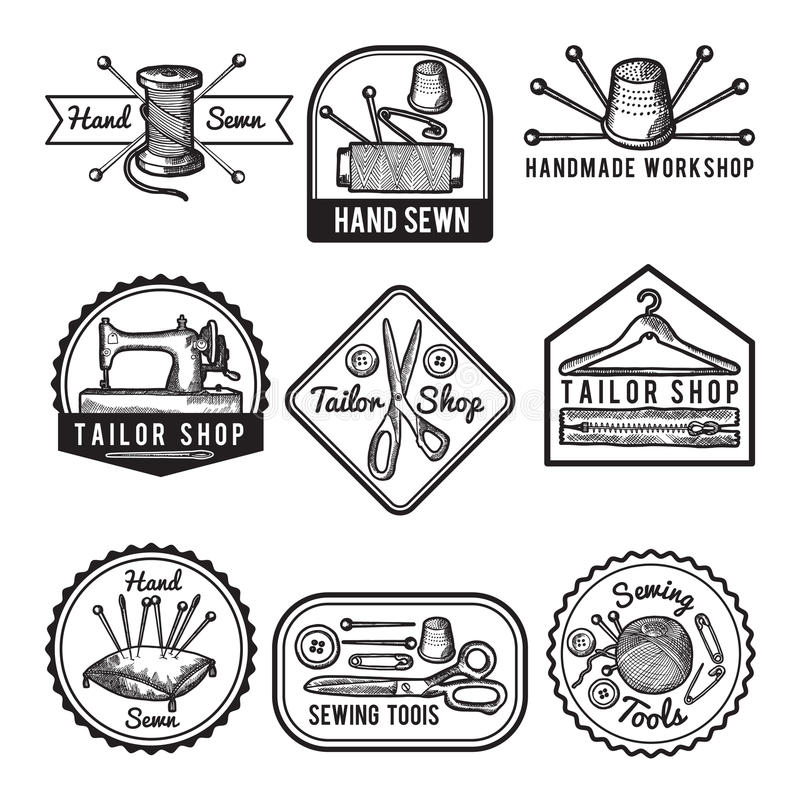 Etiquetas diferentes do monochrome para costurar ou oficina do alfaiate ilustração stock