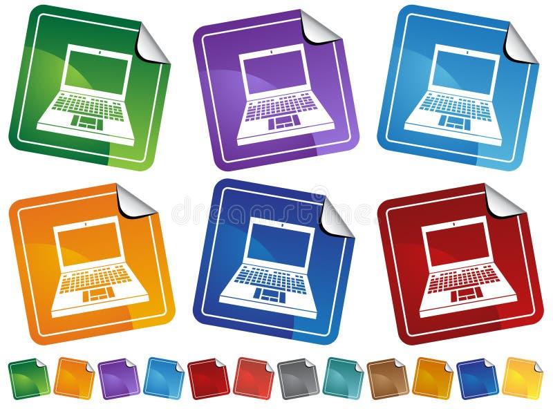 Etiquetas do ícone do computador ilustração stock