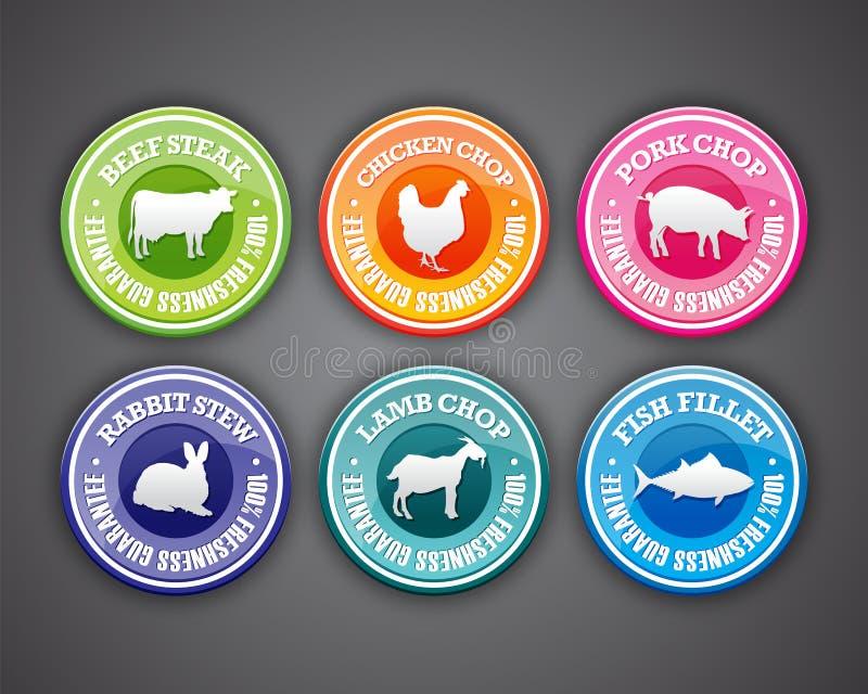 Etiquetas do alimento ilustração stock