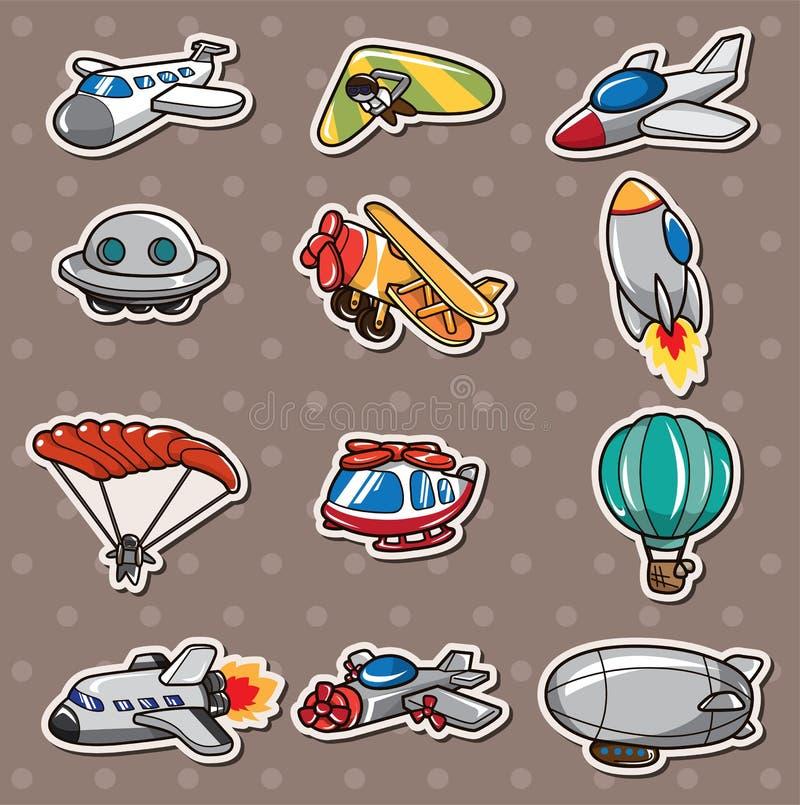 Etiquetas do avião dos desenhos animados ilustração stock