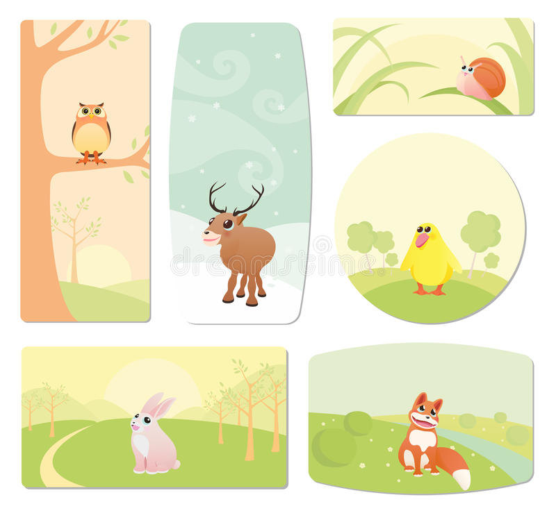 Etiquetas do bebê com animais dos desenhos animados ilustração stock