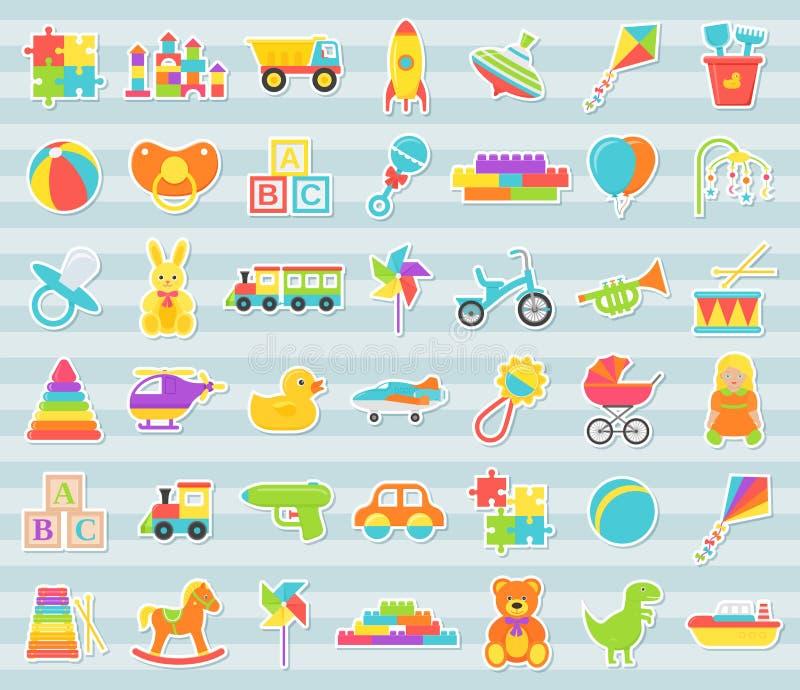 Etiquetas do bebê, grupo dos brinquedos Ilustra??o do vetor no projeto liso ilustração royalty free