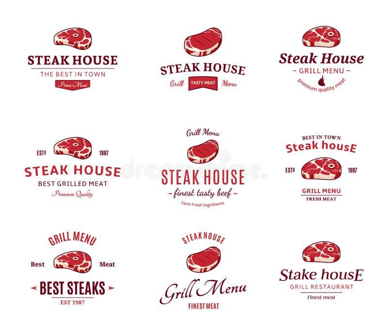 Etiquetas do bife da grade, e elementos do projeto Bifes para etiquetas da churrasqueira do BBQ e da grade ilustração royalty free