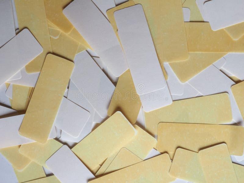 etiquetas do branco e do amarelo fotos de stock royalty free