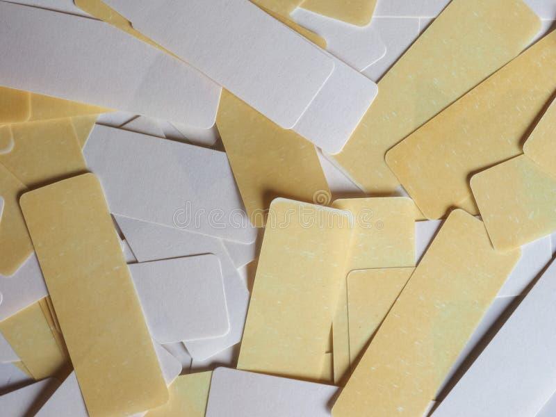 etiquetas do branco e do amarelo fotografia de stock