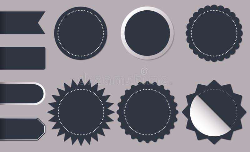 Etiquetas do círculo da forma horizontal e redonda para etiquetas do produto da loja da chegada, o crachá, etiquetas ou o sunburs ilustração royalty free