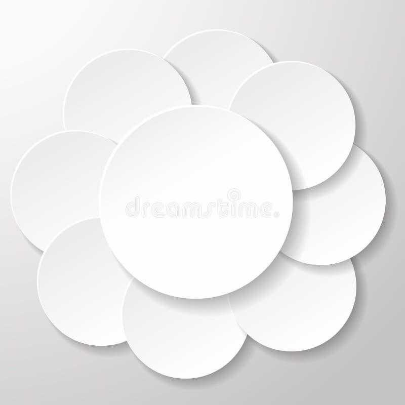 Etiquetas do círculo do Livro Branco ilustração stock