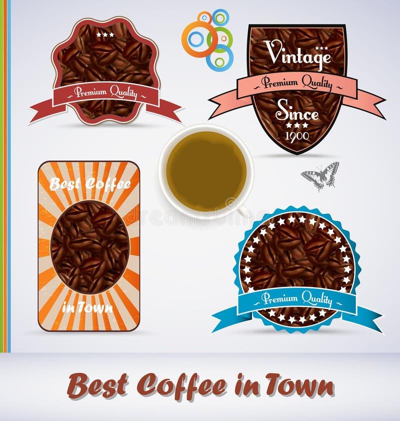 Etiquetas do café do estilo do vintage ilustração royalty free