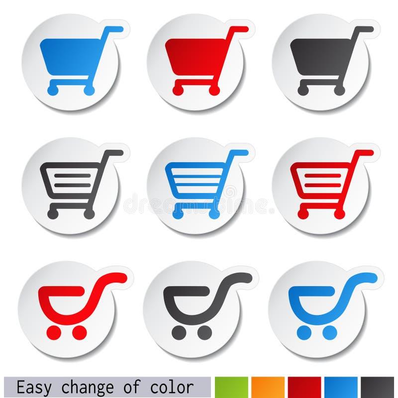 etiquetas do carrinho de compras - trole, artigo ou botão ilustração stock