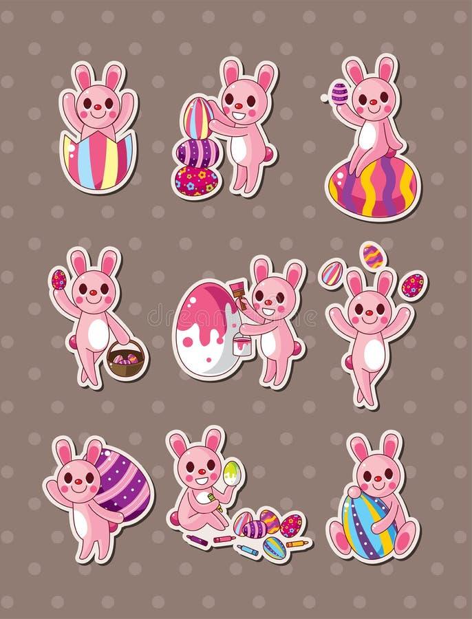 Etiquetas do coelho e do ovo de easter dos desenhos animados ilustração do vetor