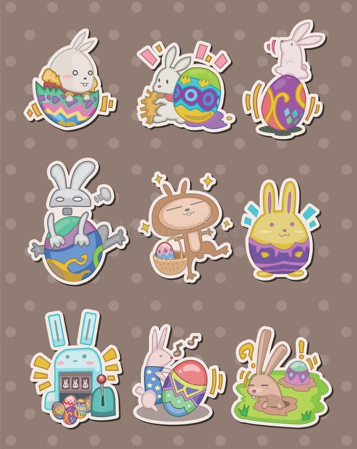 Etiquetas do coelho e do ovo de easter dos desenhos animados ilustração royalty free