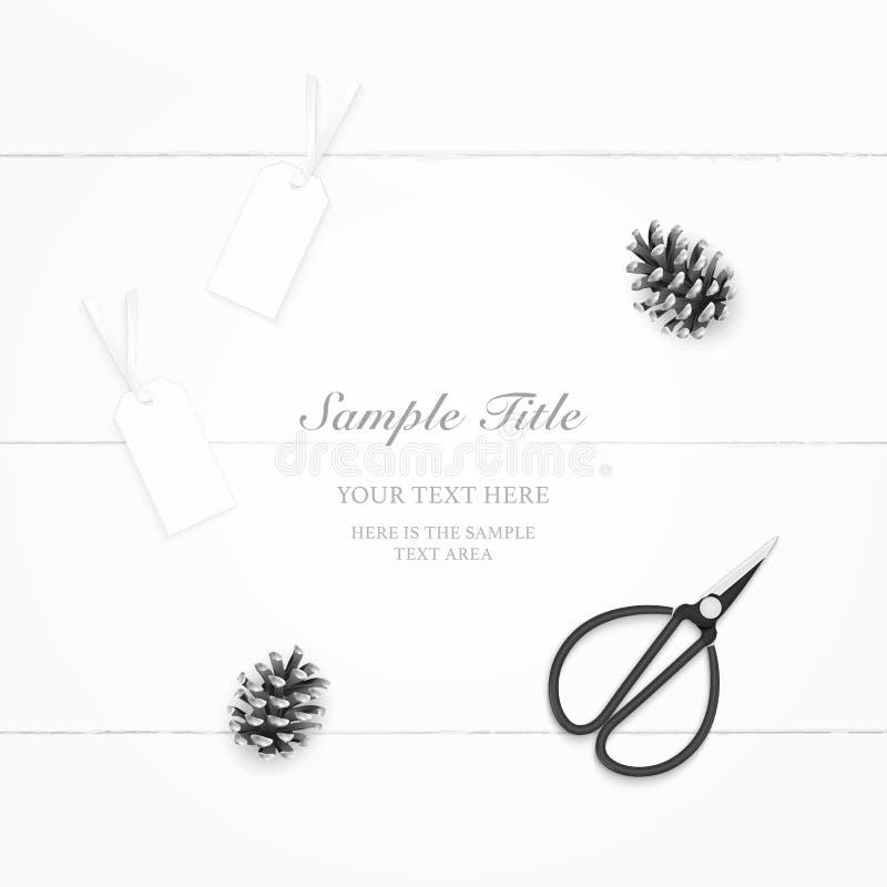 Etiquetas do cone do pinho do papel da composição da vista superior e tesouras elegantes colocadas plano do metal do vintage no f ilustração royalty free