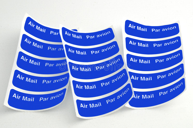 Etiquetas do correio aéreo fotografia de stock