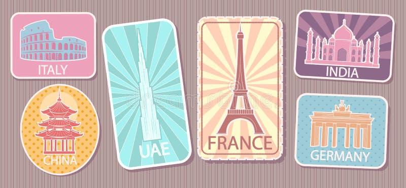 Etiquetas do curso com as atrações famosas do mundo ajustadas ilustração royalty free