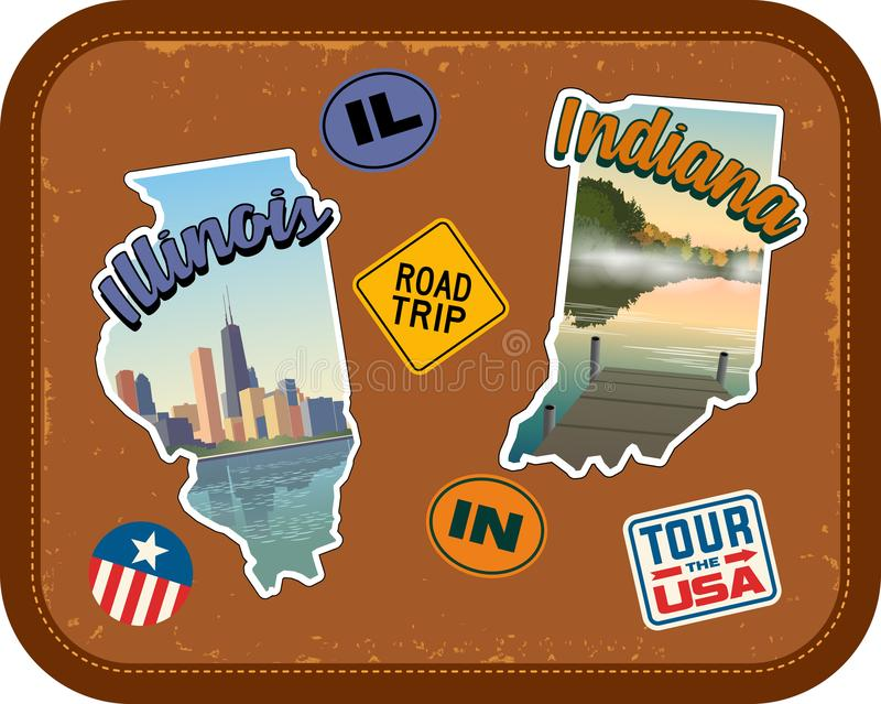 Etiquetas do curso de Illinois e de Indiana com atrações cênicos ilustração stock