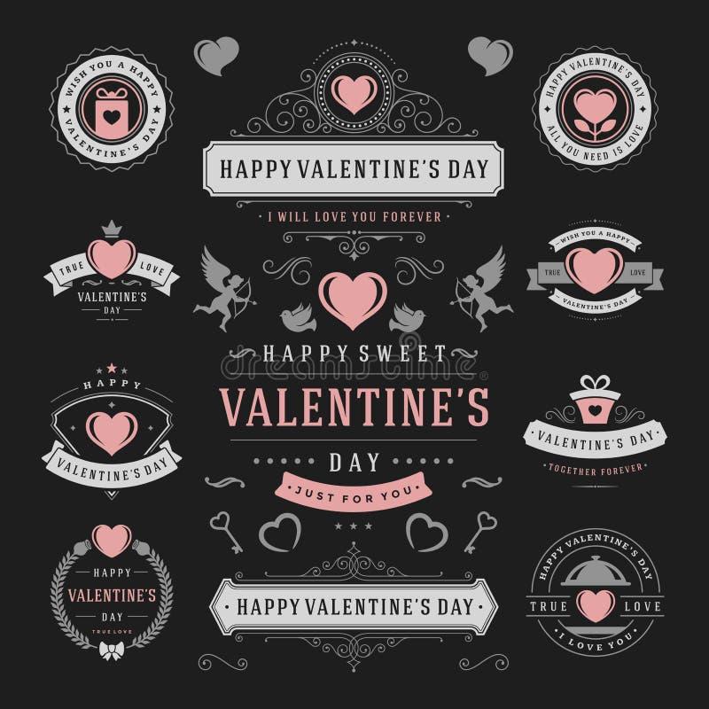 Etiquetas do dia de Valentim e grupo de cartões, ícones do coração ilustração do vetor