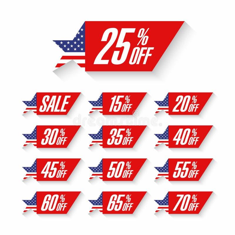 Etiquetas do disconto da venda do Dia da Independência dos EUA ilustração do vetor
