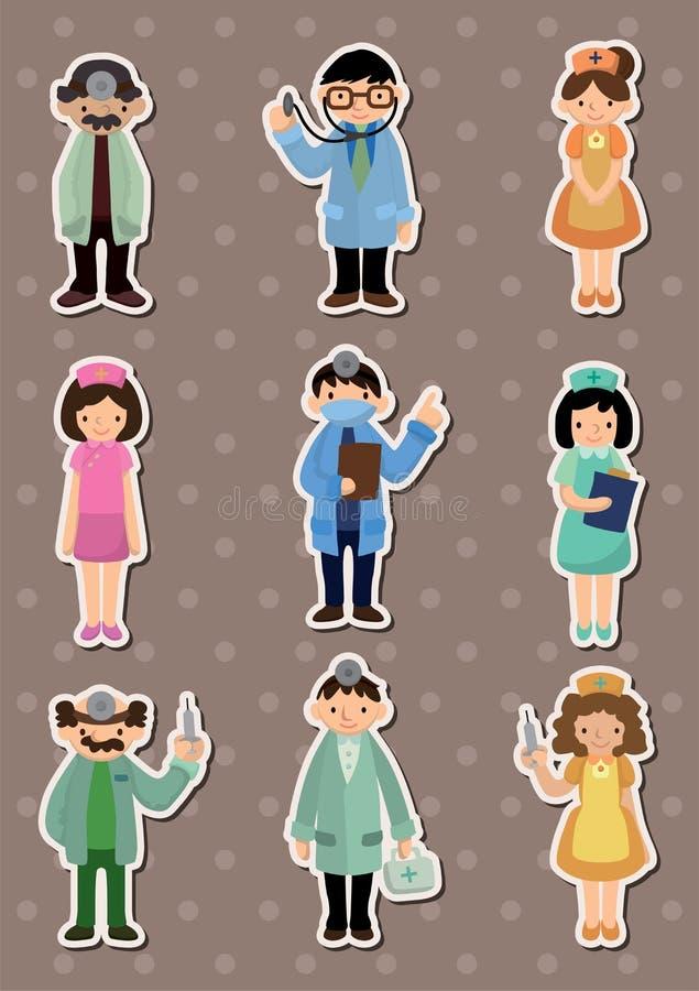 Etiquetas do doutor e da enfermeira dos desenhos animados ilustração royalty free